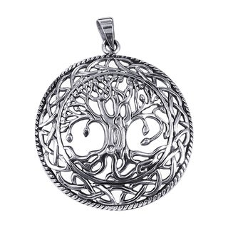 Sterling Silver Mystic Bloom Celtic Tree of Life Pendant (Thailand)