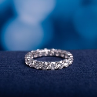 Miadora Signature Collection 18k White Gold 4ct TDW Certified Diamond Eternity Ring (G-H, I1-I2)