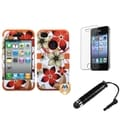 BasAcc Flower TUFF Case/ Stylus/ LCD Protector for Apple iPhone 4/ 4S