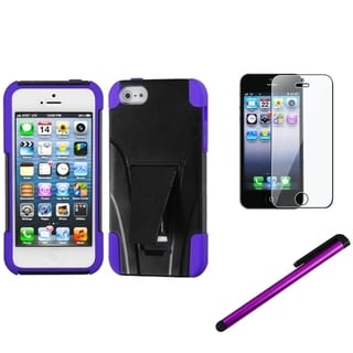 INSTEN Inverse Purple Phone Case/ Stylus/ LCD Protector for Apple iPhone 5/ 5C/ 5S/ SE
