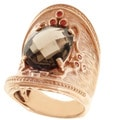 Dallas Prince Rose Gold over Silver Smoky Quartz and Orange Sapphire Ring