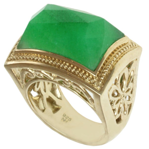 Dallas Prince Gold over Silver Green Quartz Ring