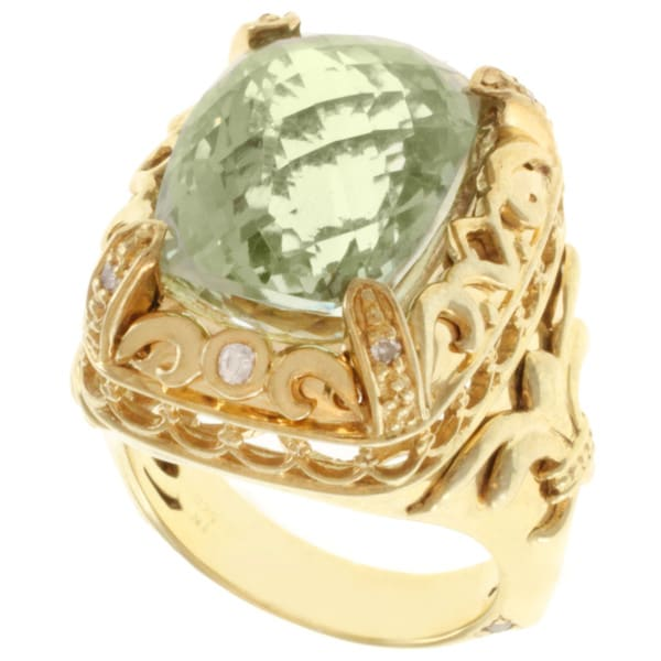 Dallas Prince Gold over Silver Green Amethyst, White Sapphire and Diamond Ring
