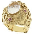 Dallas Prince Gold over Silver Rock Crystal and Pink Sapphire Ring