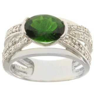 Michael Valitutti 14k White Gold Russian Diopside and Diamond Ring