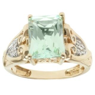 Michael Valitutti 14k Yellow Gold Green Hiddenite and Diamond Ring