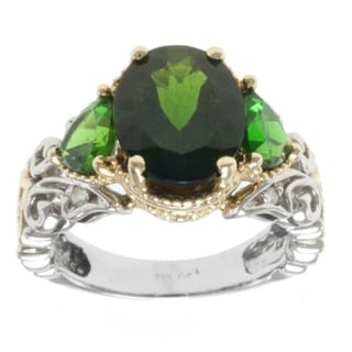 Michael Valitutti 14k Two-tone Gold Chrome Diopside and Diamond Ring