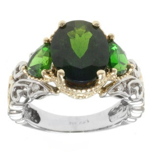 Michael Valitutti 14k Two-tone Gold Highly Polished Chrome Diopside and Diamond Ring
