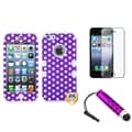 BasAcc Purple TUFF Case/ Stylus/ LCD Protector for Apple iPhone 5
