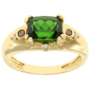 Michael Valitutti 18k Yellow Gold Chrome Diopside, Cognac and White Diamond Ring