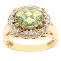 Michael Valitutti 14k Yellow Gold Green Amblygonite and Diamond Ring