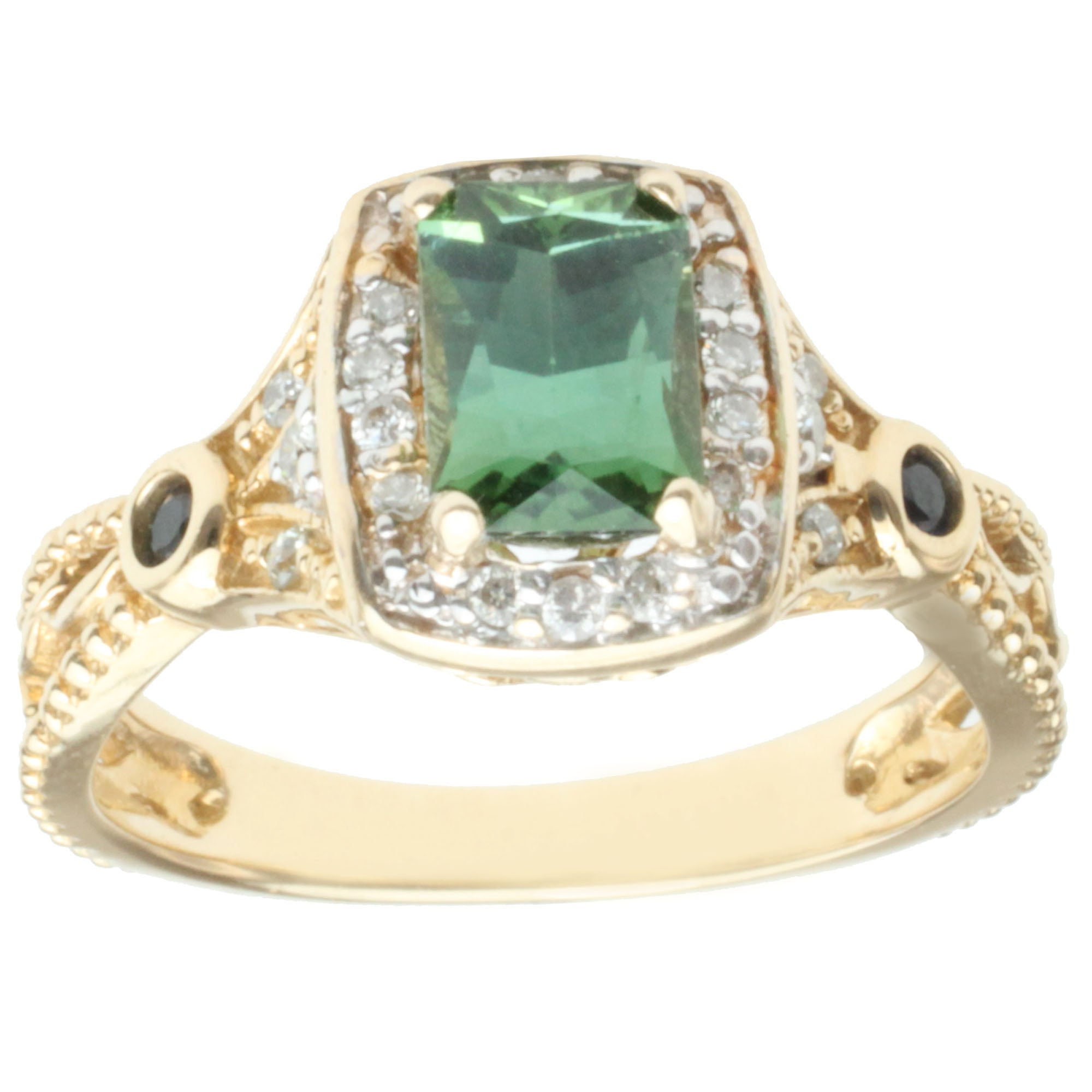 Michael Valitutti 14k Gold Teal Tourmaline, Sapphire and Diamond Ring