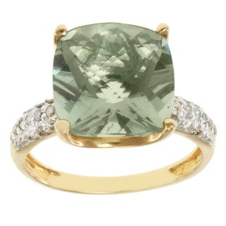 Michael Valitutti 14k Yellow Gold Green Amethyst and Diamond Ring