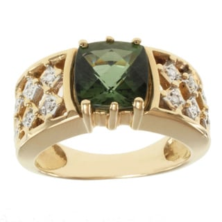 Michael Valitutti 14k Yellow Gold Cushion-cut Green Tourmaline and Diamond Ring