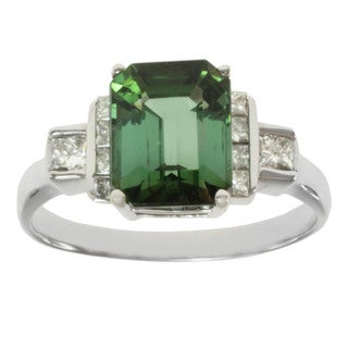 Michael Valitutti 18k White Gold Green Tourmaline and Diamond Ring