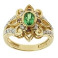 Michael Valitutti 18k Yellow Gold Tsavorite and White and Cognac Diamond Ring