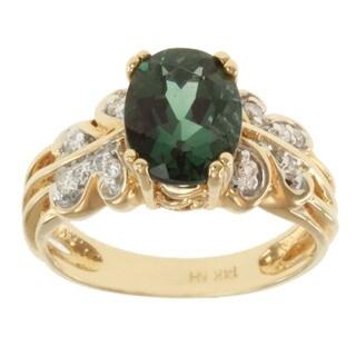 Michael Valitutti 14k Yellow Gold Green Prong-set Sunstone and Diamond Ring
