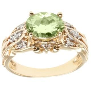 Michael Valitutti 14k Yellow Gold Amblygonite and Diamond Ring