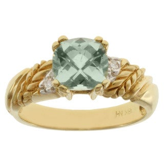 Michael Valitutti 18k Yellow Gold Mint Cushion-cut Tourmaline and Diamond Ring
