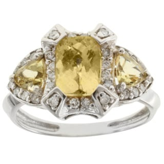 Michael Valitutti 14k White Gold Yellow Beryl and Diamond Ring