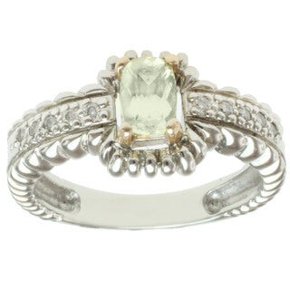 Michael Valitutti 14k Two-tone Gold Canary Apatite and Diamond Ring