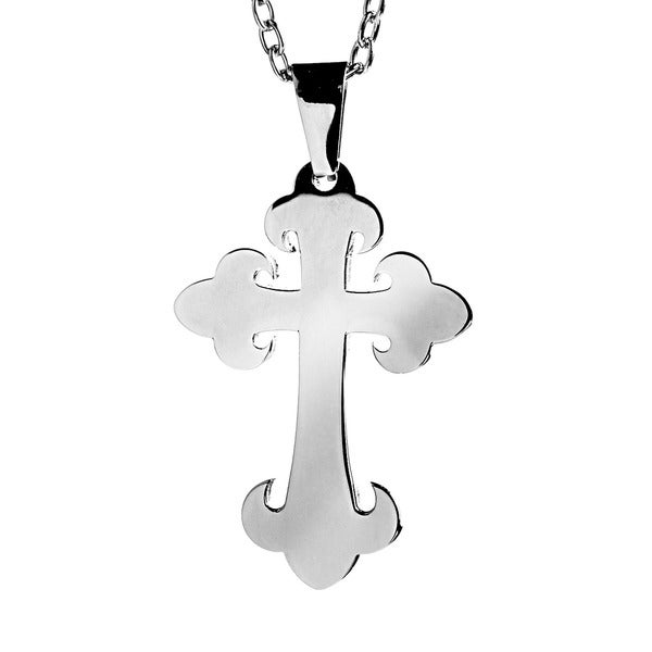 Stainless Steel Budded Stainless Steel Cross Necklace