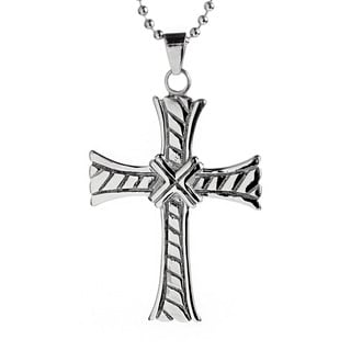 Stainless Steel Men's Flared and Grooved Cross Necklace
