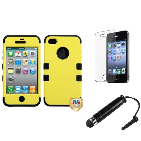 INSTEN Yellow TUFF Phone Case Cover/ Stylus/ LCD Protector for Apple iPhone 4/ 4S
