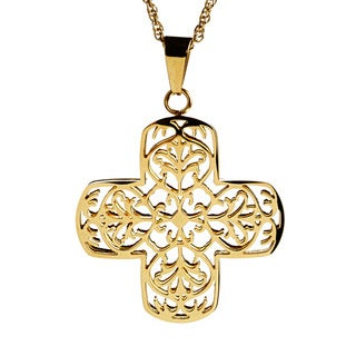 Goldtone Stainless Steel Open Filigree Cross Necklace