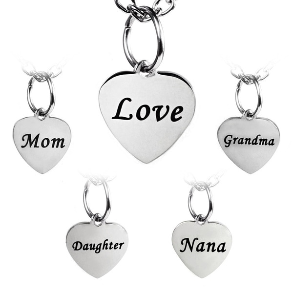 Stainless Steel Engraved Heart Charm Necklace