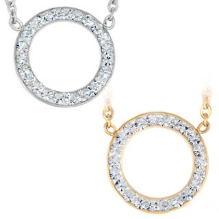 ELYA Stainless Steel Crystal Open Circle Necklace