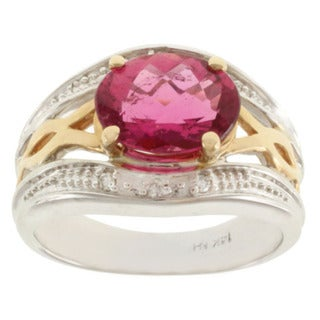 Michael Valitutti 14K Two-tone Gold and Prong-set Rubelite and Diamond Ring