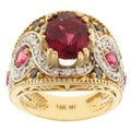 Michael Valitutti 14k Two-tone Gold Rubelite, Black Diamond and Diamond Ring