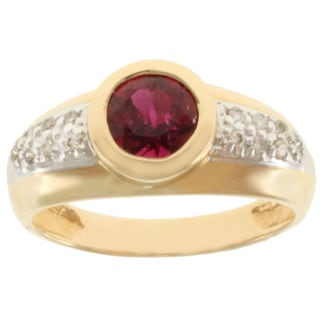 Michael Valitutti 14k Two-tone Gold Rubelite and Diamond Ring