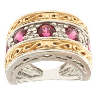 Michael Valitutti 14K Two-tone Gold and Rubelite and Diamond Band-style Ring