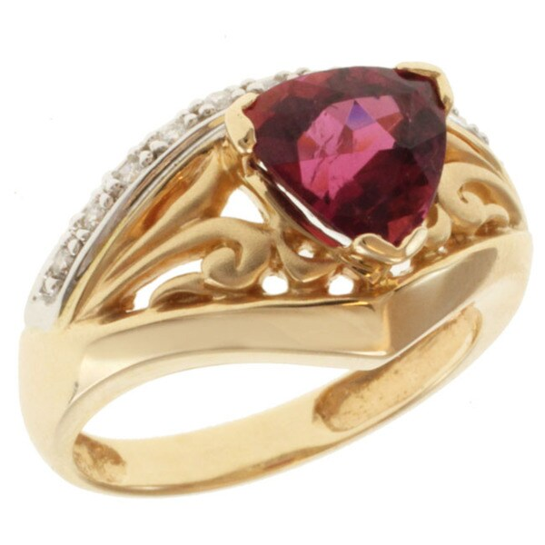 Michael Valitutti 14K Two-tone Gold and Triangle-cut Rubelite and Diamond Ring