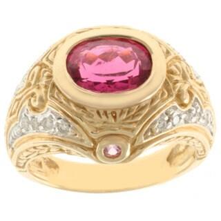 Michael Valitutti 14k Yellow Gold Rubelite, Pink Round-cut Sapphire and Diamond Ring