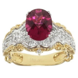 Michael Valitutti 18k Two-tone Gold Rubelite and Diamond Ring