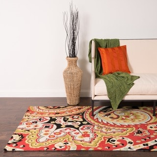 Hand-hooked Charlotte Red Floral Rug (2'3 x 3'9)