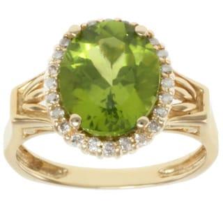 Michael Valitutti 14K Yellow Gold Oval-cut Green Peridot and Diamond Ring
