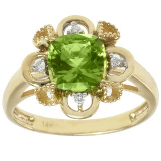 Michael Valitutti 14K Yellow Gold Cushion-cut Peridot and Diamond Ring