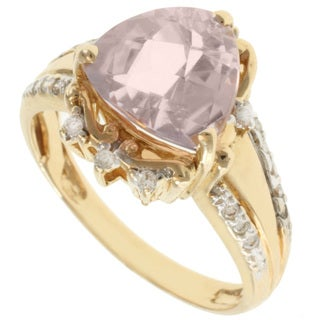 Michael Valitutti 14K Yellow Gold Trillion-cut Kunzite and Diamond Ring