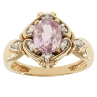 Michael Valitutti 14K Yellow Gold Oval-cut Kunzite and Diamond Ring