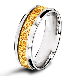 Goldplated Stainless Steel Celtic Inlay Eternity Band