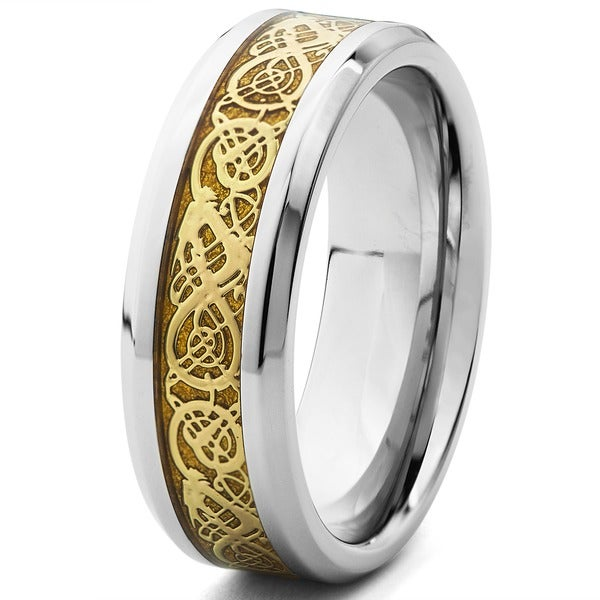 Crucible Polished Stainless Steel Celtic Dragon Inlay Beveled Comfort Fit Ring - 8mm Wide 11478563