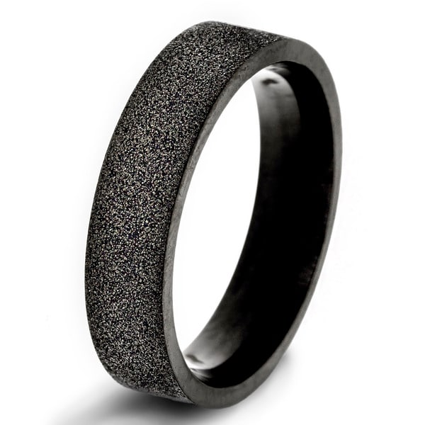 Black-plated Stainless Steel Sandblasted Band