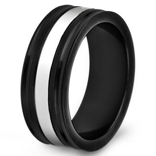 Black-plated Stainless Steel Polished Grooved Center Ring