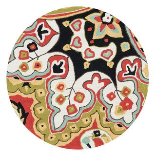 Hand-hooked Charlotte Red/ Black Rug (3' Round)
