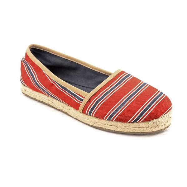 Aqua Women's 'Tropical' Red Striped Synthetic Casual Shoes