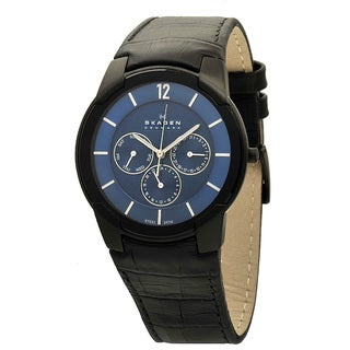 Skagen Men's 856XLBLN Black Leather Quartz Watch